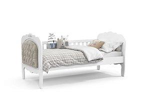 cama baba provence branco soft com capitonê - matic