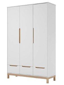roupeiro cozy 03 portas branco fosco com carvalho malva - quater