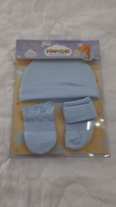 kit gorro+luva+meia azul bebê - pimpolho