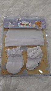 kit gorro+luva+meia branco - pimpolho