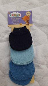 kit 3 pares de luvas marinho/piscina/azul - pimpolho
