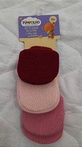 kit 3 pares de luvas vermelho/rosa/rosa - pimpolho