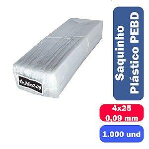 Saco Plástico PEBD 4x25x0,09 Pct c/ 1.000 und