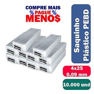 Saco Plástico PEBD 4x25x0,09 Pct c/ 10.000 und