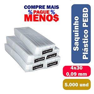 Saco Plástico PEBD 4x30x0,09 Pct c/ 5.000 und