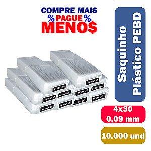 Saco Plástico PEBD 4x30x0,09 Pct c/ 10.000 und