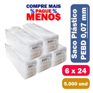 Saco Plástico PEBD 6x24x0,07 Pct c/ 5.000 und