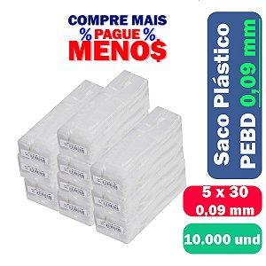 Saco Plástico PEBD 5x30x0,09 Pct c/ 10.000 und