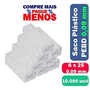 Saco Plástico PEBD 6x25x0,09 Pct c/ 10.000 und