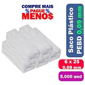 Saco Plástico PEBD 6x25x0,09 Pct c/ 5.000 und