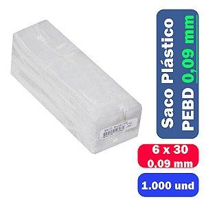 Saco Plástico PEBD 6x30x0,09 Pct c/ 1.000 und