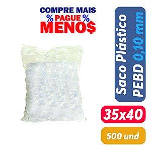 Saco Plástico PEBD 35x40x0,10 Pct c/ 500 und