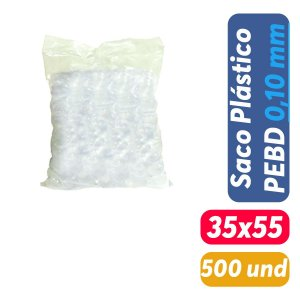 Saco Plástico PEBD 35x55x0,10 Pct c/ 500 und