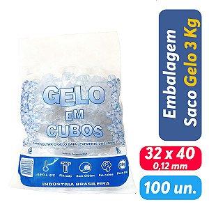 Saco PEBD Impresso Gelo 5Kg 32x40x0,12 - Pct c/ 100 und