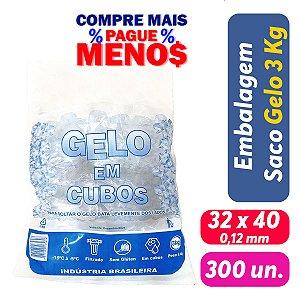 Saco PEBD Impresso Gelo 5Kg 32x40x0,12 - Pct c/ 300 und
