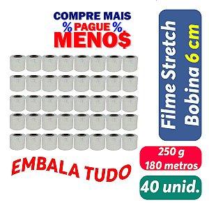 Filme Stretch Bobina 6cm (60mm) 250g - Pct c/ 40 unid.