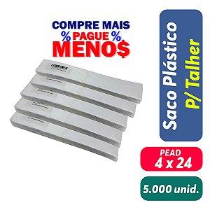 Saco Plastico para Talher - 4x24 - Pct c/ 5.000 unid.