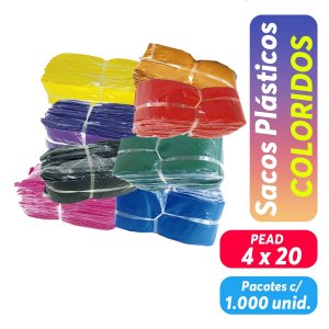 Saco Plastico Colorido - 4x20 - Pct c/ 1.000 unid.