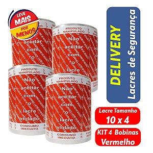 KIT Lacre de Segurança Delivery - 4 Bobinas - 4.000 Lacres Vermelho c/ Branco