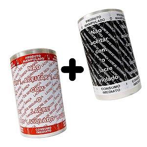 KIT Lacre de Segurança Delivery - 2 Bobinas - 2.000 Lacres (1.000 Branco/Vermelho + 1.000 Preto/Branco)