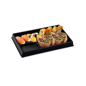 KIT - Prato Descartável p/ Sushi - Sem Tampa - 20,5x12,5 - Praticpack - Caixa 200 und