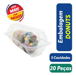 KIT - Embalagem Blister para Donuts - 5 Cavidades - Praticpack - Pct c/ 20 unid.