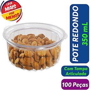 KIT - Pote Redondo 350 ml - Articulado - Descartável - Praticpack - 100 peças