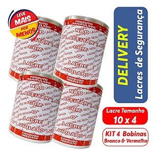 KIT Lacre de Segurança Delivery - 4 Bobinas - 4.000 Lacres Branco c/ Vermelho