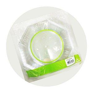 KIT - Prato Descartável Oitavado - Cristal Transparente 18cm - Pct c/ 50 unid