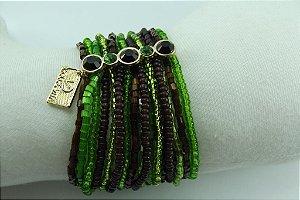 Pulseira de Miçangas  Importadas e Vidrilhos Verde e Marrom escurocom Metal Banho de Ouro AntiAlérgico e Cristais Swarovski Verde e Marrom