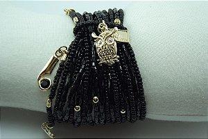 Pulseira de Miçangas Importadas e Vidrilhos Preto com Metal Dourado e Cristal Swarovski