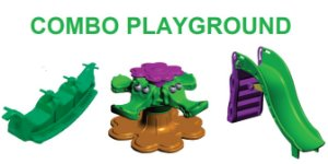 Combo Brinquedos Playground - Gira Gira, Escorregador e Gangorra