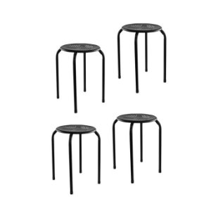 Conjunto 4 Banquetas metálicas - Assento vazado MG 26 - Preto