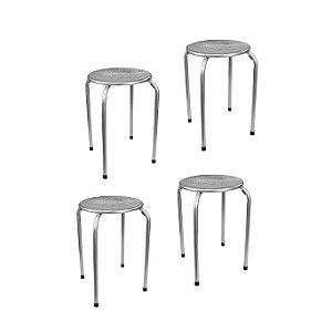 Conjunto 4 Banquetas metálicas - Assento vazado - Prata MGXH026SIL