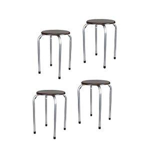 Conjunto 4 Banquetas metálicas - Assento em madeira - Cor Mogno MGXH026BLA