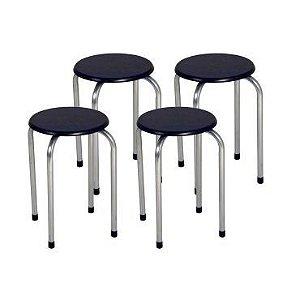Conjunto 4 Banquetas metálicas - Assento em madeira - Cor Tabaco MGXH025WAL