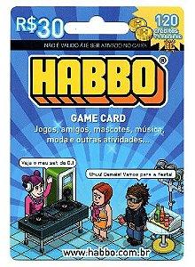 Cartão Habbo R$ 30 - Game Card +1 Mês De HC +120 Créditos