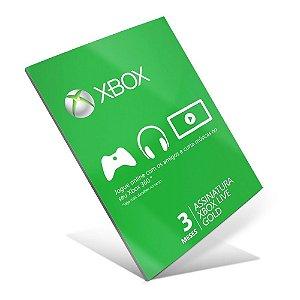 Cartão Assinatura Gold Xbox Live 3 Meses
