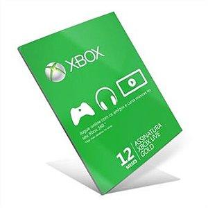 Cartão Assinatura Gold Xbox Live 12 Meses