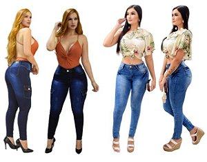 Calça Jeans Feminina Cintura Alta Com Lycra Hot Pants Frete Grátis