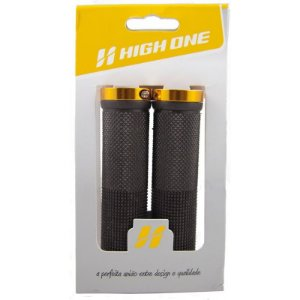 Manopla High One Bike 130mm Com Trava Dourado