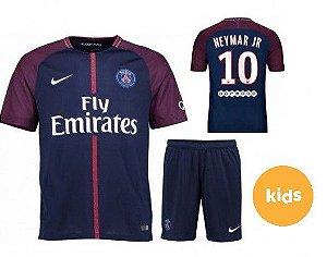 7ecad9a28c Futebol Francês. Camisa Infantil + Shorts Paris Saint Germain Psg HOME 2017    2018 -NEYMAR JR Nº10