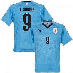 Camisa Puma Seleção do Uruguay Home 2018/2019-Suárez Nº9