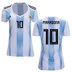 a14124380a Camisa Feminina Seleção da Argentina Home 2018 2019-Maradona N°10