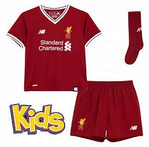 3a095a4a17 Camisa Infantil Liverpool Home 2017 2018 -S N