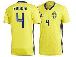 Camisa Seleção da Suécia Home 2018/2019-Wahlqvist Nº4