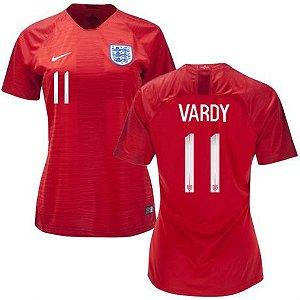 Camisa Feminina Seleção da Inglaterra 2018/2019-Vardy N°11