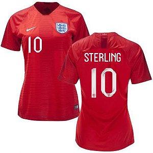 Camisa Feminina Seleção da Inglaterra 2018/2019-Raheem Sterling N°10