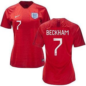 Camisa Feminina Seleção da Inglaterra 2018/2019-Beckham N°7