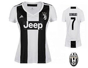 Camisa Feminina Juventus da Itália Home 2018/2019-Cristiano Ronaldo Nº7